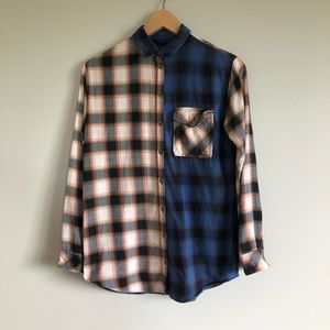 TOPSHOP Flannel Plaid Shirt - 2 Tone